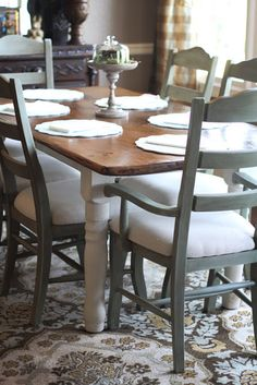 "Crafty Southern Mama: ""New"" Kitchen Chairs...Annie Sloan Chalk Paint My dream table...must paint mine!"