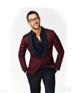 Burgundy tuxedo jacket with unbuttoned shirt. | 5 Style Risks Men Should Take This Fall | www.divinestyle.co