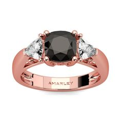#Amarley Rose Gold Sterling Silver 1.25 CT. Cushion Cut Black CZ Cubic Zirconia 3 Stone Ring. Priced at $79.95 - Subject to change depending on the supplier. Was $175.