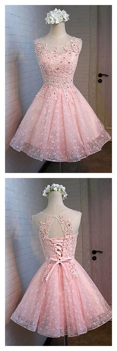 cute pink homecoming dresses, open back short prom dresses, lace party dresses #SIMIBridal