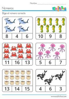 Animals Count and Clip Cards (Numbers Kindergarten Math Worksheets, Preschool Curriculum, Preschool Printables, Teaching Math, Learning Activities, Preschool Activities, Numbers Preschool, Math Numbers, Worksheet Numbers
