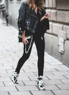 Black top with straps from IvyRevel // jeans from Ginatricot // Acne leather jacket // shoes from Jennie-Ellen // Prada sunglasses