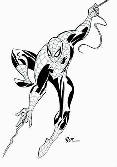 Bruce Timm Spider-Man, in Martin Arlt's Bruce Timm Comic Art Gallery Room Comic Book Artists, Comic Artist, Comic Books Art, Bruce Timm, All Spiderman, Ligne Claire, Batman The Animated Series, Funny Tattoos, Marvel Art