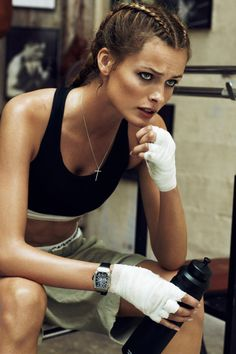 LOVE the braids!!! - Edita Vikeviciute gets into fighting form for Lachlan Bailey's beauty images featured in the April edition of Vogue Paris.