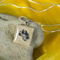 Paw Print in the Sand Beach Dog Scrabble Tile Photo Pendant. $16.00, via Etsy.