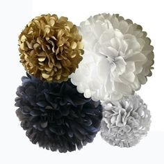 New Year's Eve Tassel Garland Decor Black, White and Gold Tissue Paper Tassels, Black Tie Holiday , Winter Weddings Party Decorations Gold Party Decorations, Engagement Party Decorations, Bridal Shower Decorations, Prom Decor, Mr And Mrs Balloons, 16 Balloons, Gold Tissue Paper, Bubbly Bar, Paper Pom Poms