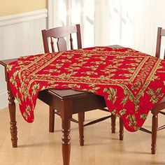 68x102' Rectangular Quilted Tablecloth, Holly Red, Christmas -- Details can be found by clicking on the image. (This is an affiliate link) #ModernHomeDecor