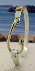 14K Gold Fish Hook on Sterling Silver Bracelet with 14K Nautical Rope--also available in all Sterling Silver.