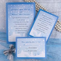 Snow winter wedding invitations