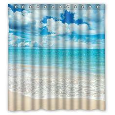 66 X 72 Beach Theme Waterproof Polyester Fabric Bathroom Shower Curtain With 13 Hooks