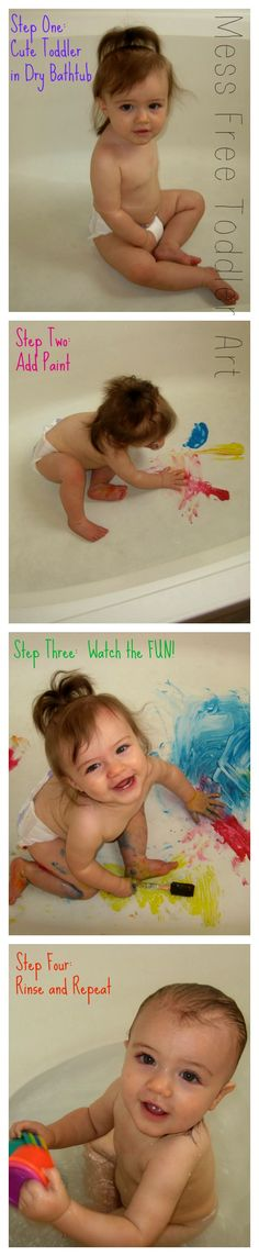 Use washable finger paint and let the fun begin