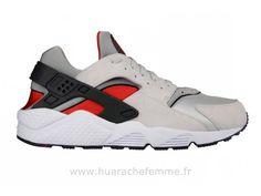 a834a9ff4ec Nike Aie Huarache Grey Red Heel - Chaussure Pour Homme Baskets Huarache  Femme. Nike Air ...