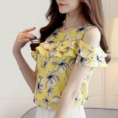 Cheap Blouses Shirts, Buy Directly from China Suppliers:Cheap Clothes Cute Floral Chiffon Shirt 2018 Summer Blouse Women New Short Sleeve Chiffon Tops Ruffles Off Shoulder Woman Shirts Collars For Women, Blouses For Women, Cheap Blouses, Chiffon Shirt, Chiffon Tops, Floral Chiffon, Print Chiffon, Summer Blouses, Short Sleeve Blouse