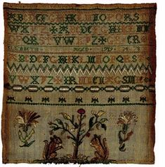 """""""Women's Work: Embroidery in Colonial Boston"""":  """"This is the earliest known Boston sampler from the eighteenth century. The squirrels at the bottom were a common motif in domestic embroideries such as bed hangings and chair seats."""""""