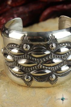 Think Repousse Cuff Navajo Sterling Silver Bracelet by Elvira Bill - Turquoise Skies