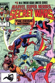 Marvel Super-Heroes Secret Wars (Jul cover by Mike Zeck & John Beatty. Magneto was a villain. The X-Men wanted to defect from the hero team to show mutant solidarity. Spidey heard, and they tried to stop him. He clowned the whole team. Marvel Comics Superheroes, Marvel Comic Books, Comic Book Heroes, Marvel Heroes, Comic Books Art, Comic Art, Marvel Marvel, Arte Dc Comics, Old Comics