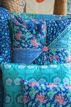 Amy Butler's Violette Fabrics. Pieced pillow at back.