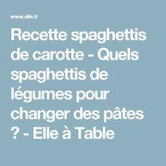 Recette spaghettis de carotte - Quels spaghettis de légumes pour changer des pâtes ? - Elle à Table