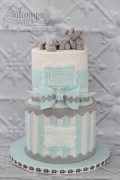Celebration Cakes-Page 1 Twin Baby Shower Cake, Baby Shower Cakes For Boys, Baby Boy Cakes, Golden Birthday Cakes, 13 Birthday Cake, Little Man Cakes, Little Mermaid Cakes, Elephant Baby Shower Cake, Elephant Cakes