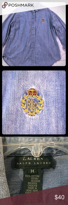 Lauren by Ralph Lauren long sleeve denim shirt. Lauren by Ralph Lauren long sleeve button down denim shirt. Lauren Ralph Lauren Tops Button Down Shirts