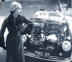 Coat byCarven - CarPorsche cabriolet - photo Robert Doisneau. Vogue Paris October 1952