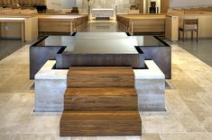 This beautifully designed baptismal font is located in the newly constructed St. John Vianney Church in Hacienda Heights, CA. St John Vianney Church, Hacienda Heights, Water Sculpture, Water Walls, Church Architecture, Altars, Sacred Art, Water Features, Dining Bench