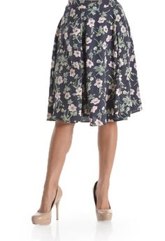 Flower Navy Print Midi Skirt