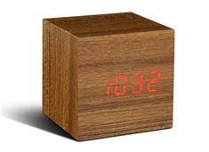 Cube Teak Click Clock / Red LED