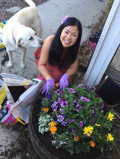 Even the dog ones to help the pretty girl plant!