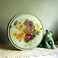 Vintage Tin Box Mint Green Candy Tin with Flowers
