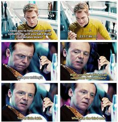 Star Trek Into Darkness....OMG I laughed really embarrassingly loud at the movie theater at this. And even though i saw it three times, I laughed even harder each time :)