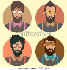 set of hipster fashion man with beard, mustache and Sunglasses