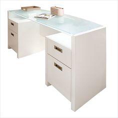 Kathy Ireland by Bush New York Skyline Bow-Front Desk in Plumeria White - KI10202-03K $519