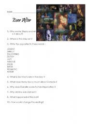 English worksheet: Ever After: a Cinderella Story