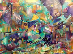 ARTFINDER: La Fete ( The Feast) by Elle Alvarado Mauriz - Colorful and bright acrylic painting depicting surreal and imaginary scenes of carnival like feast.