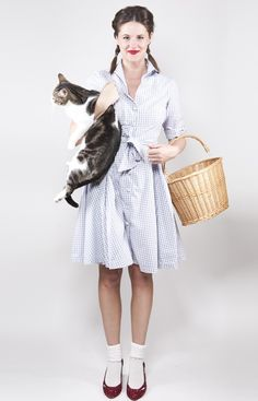 Dorothy | Easy Last-Minute Costume Ideas For Adults | Can't beat this cult classic, but I'm not quite sure about the cat...last time I checked Toto was a dog!