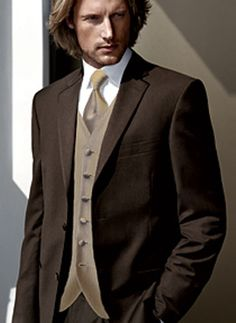 3ed2021b4be7c I m really liking these brown Single Breasted Button Worsted Groom Wedding  Tuxedo Item Code