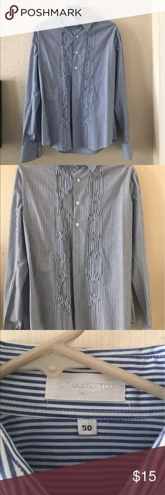 "• men's striped blue and white button down shirt • Urban Setter Tailoring Men's blue and white striped Button Down dress shirt. NWOT. No flaws, never worn. Ruffle pattern look on the front. Size 50 EU = approx size 17"" neckline Urban Setter Tailoring Shirts Dress Shirts"