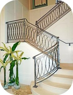 Staircase Railing Design, Interior Stair Railing, Wrought Iron Stair Railing, Balcony Railing Design, Iron Railings, Banisters, Stair Design, Railing Ideas, H & M Home