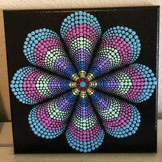 Dot Art Painting, Mandala Painting, Painting Patterns, Mandala On Canvas, Mandala Design, Mandala Pattern, Simple Mandala, Dot Work Mandala, The Dot