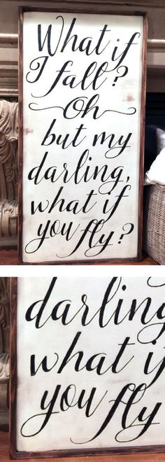 What If I Fall Wood Sign Oh My Darling What If You Fly Modern Farmhouse Fixer Upper Style Large Framed Sign Nursery Decor Farmhouse Fall Wood Signs, Wooden Signs, Painted Boards, Painted Signs, Woodworking Projects Plans, Teds Woodworking, Nursery Signs, Nursery Decor, Disney Rooms
