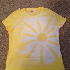 """For young women's camp! """"Let your light so shine"""" Did it with tape and bleach in a spray bottle. Once it is mostly dry, wash it by it's self."""