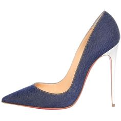 Pre-owned Christian Louboutin So Kate 120 Blue Denim Pumps ($600) ❤ liked on Polyvore featuring shoes, pumps, blue denim, blue denim shoes, blue shoes, denim pumps, christian louboutin shoes and blue pumps