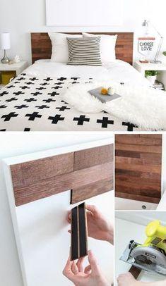 Ikea Hack Stikwood Headboard | Click for 18 DIY Headboard Ideas | DIY Bedroom Decor Ideas on a Budget #WoodProjectsDiyHeadboards