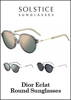 Look retro in these womens Dior Eclat Round Sunglasses from Solstice.  ️ ------------------ #sunglasses #eyewear #glasses