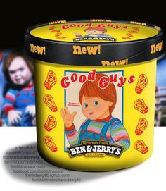 This is a large series of fictional Ben & Jerry's ice cream flavors based on famous horror movies and characters. They were all created by John Squires and artist Frank Browning for Freddyinspace. Which one is your favorite favorite? Horror Movie Characters, Horror Films, Horror Art, Horror Icons, Horror Decor, Childs Play Chucky, Funny Horror, Weird Food, Scary Food