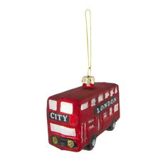 Glass London Bus Ornament  London bus Ornament and Christmas