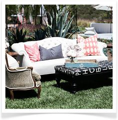 4. Indoor Furniture Outdoors.  Summer's warm weather calls for al fresco living rooms. Bring the couches and club chairs outside