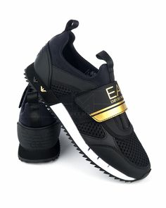 Emporio Armani Trainers A Racer Mesh - Black & White Armani Shoes Mens, Armani Men, Emporio Armani, Casual Sneakers, Leather Sneakers, Lacoste, Armani Brand, Nike Air Shoes, Moda Masculina