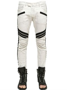 17CM BANDS STRETCH DENIM BIKER JEANS
